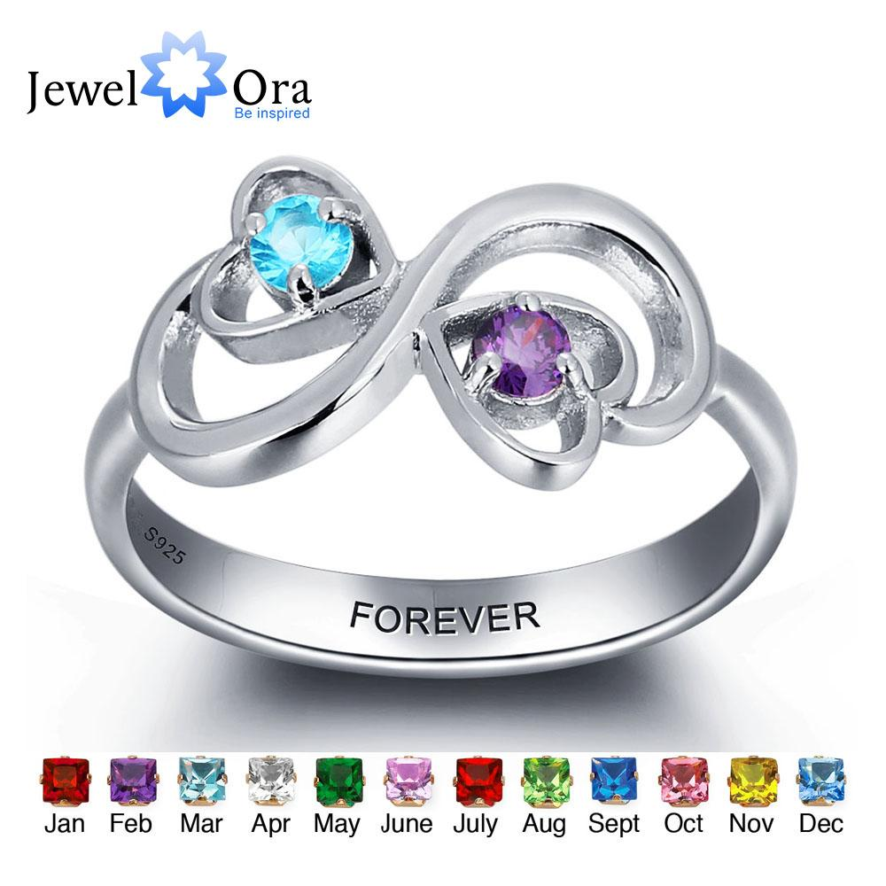 2018 Personalized Engrave Birthstone Jewelry Heart Stone Name Ring ...