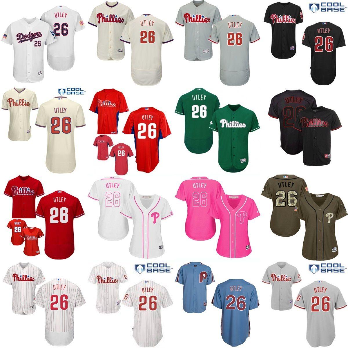 ... Cool Base MLB Jersey 2017 Authentic Baseball Jerseys MLB Youth Kids Mens  Womens Philadelphia Phillies 26 Chase Utley Grey Flex Chase Utley White ... fc3d5ee62