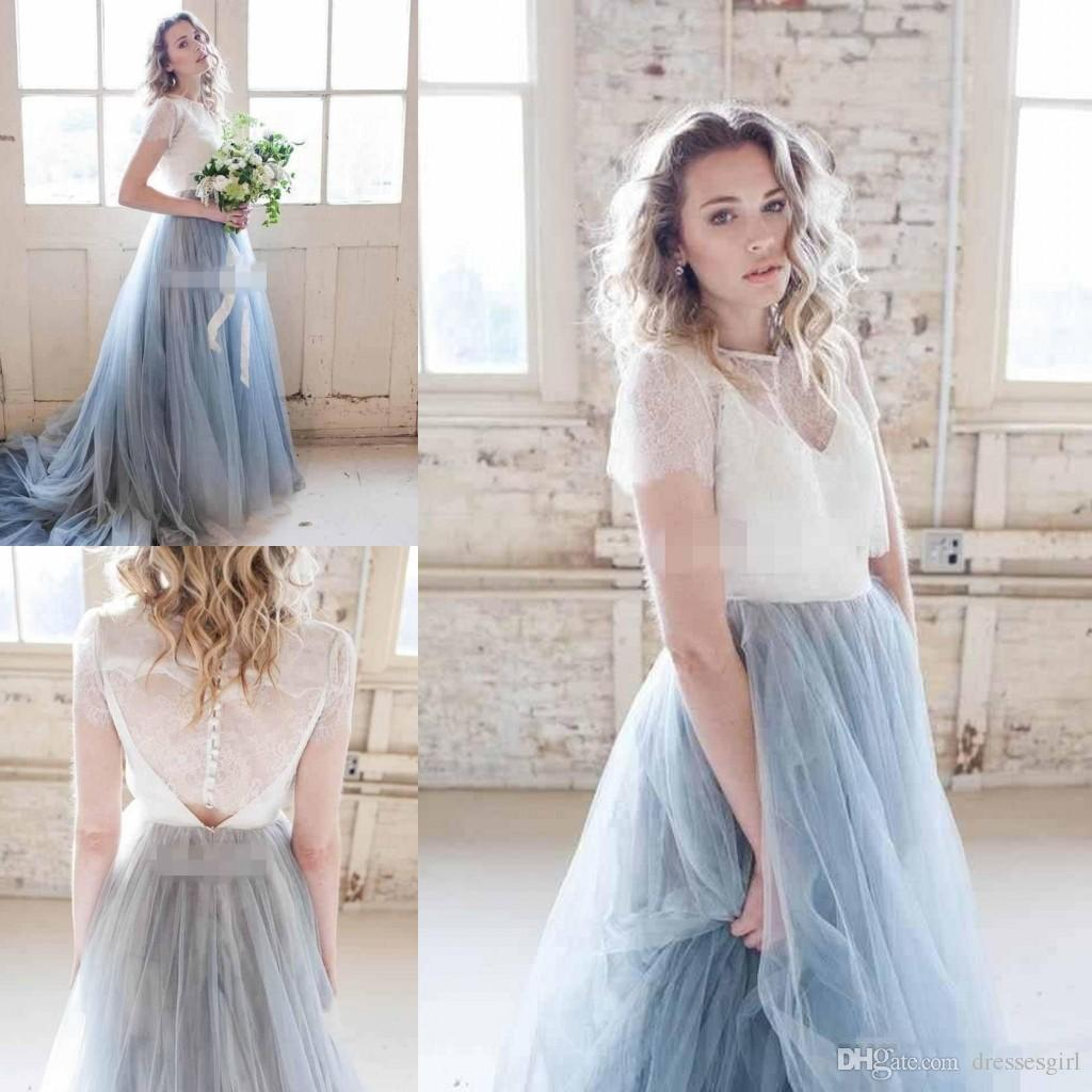 Discount 2018 Autumn Chic Country Wedding Dresses Dusty Tulle Court Train Ivory Lace Skirt Short Sleeve Cheap Sheer Bohemia Bridal Gowns: Cheap Court Wedding Dresses At Websimilar.org