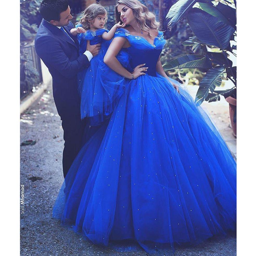 Cinderella Royal Blue Prom Dresses 2019 Ballkleider von der Schulter mit Shinny Crystals Perle Schmetterlinge Abendkleider Pageant Kleid billig