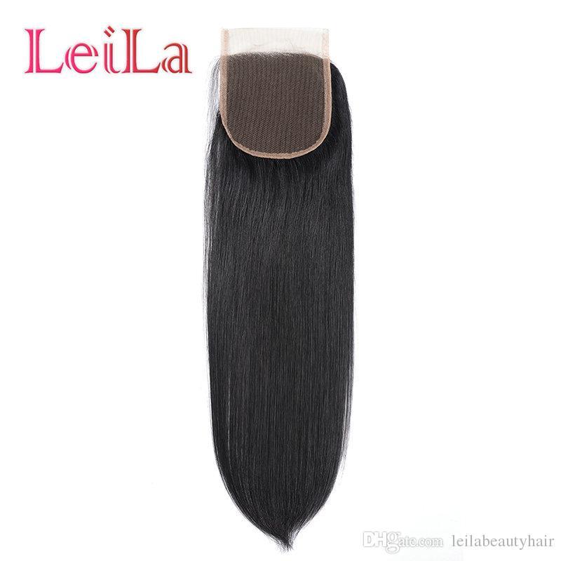Peruvain девственные волосы прямые волосы пучки с закрытия шнурка шелковистая прямая человеческих волос 4х4 закрытие шнурка 5 штук