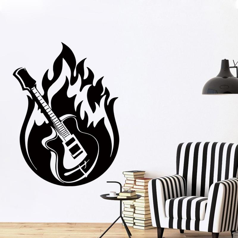 New design wall sticker vinyl decal guitar music jazz blues fire rock art home decor mural diy vinyl sticker wall sticker art mural online with 9 29 piece