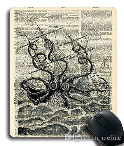 customized mousepad giant squid sea monster pirate ship nautical art