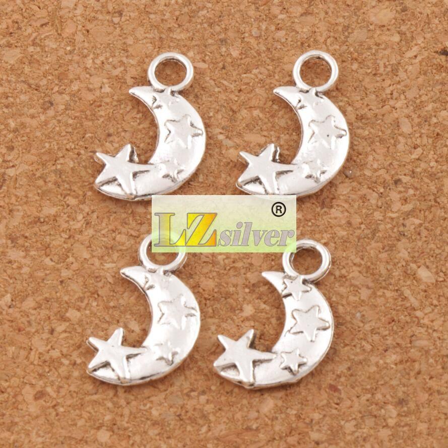 Mond und Stern Spacer Charm Perlen 300 teile / los Tibetischen Silber Anhänger Legierung Handgemachten Schmuck DIY 19,1x11mm L198