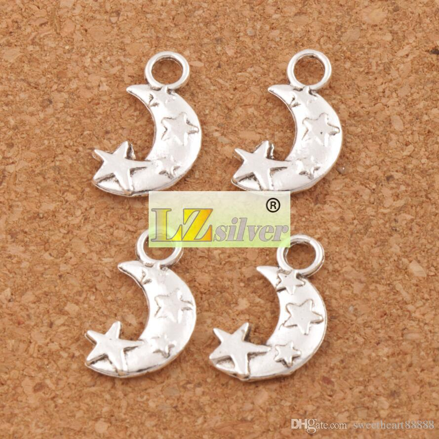 Moon and Star Spacer Charm Beads Tibetan Silver Pendants Alloy Handmade Jewelry DIY 19.1x11mm L198