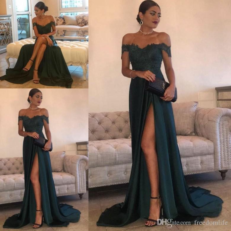a1fd38287cb68 Formal Hunter Green Evening Gowns A Line Cutout High Split Special Occasion Dress  Party Wear Lace Top Sexy Off Shoulder Prom Dresses 2019 Evening Dresses ...