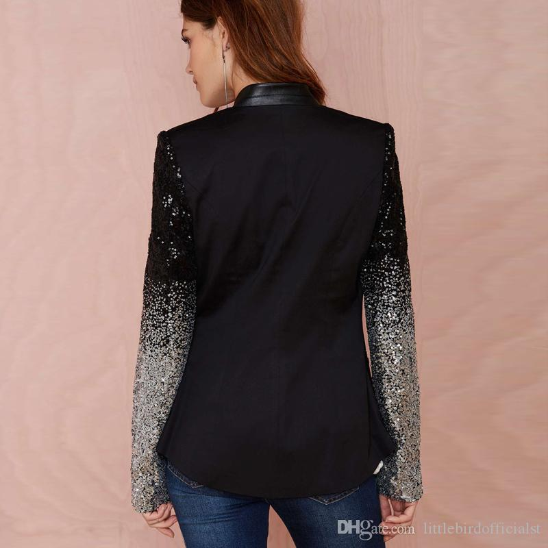 Haoduoyi slim women Pu patchwork Black silver sequins Jackets Full sleeve Fashion winter coat for wholesale