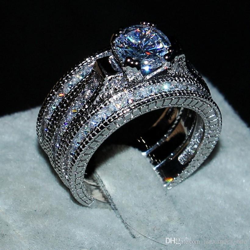 광장 시뮬레이션 다이아몬드 20ct 럭셔리 여성 사이즈 5-11위한 세트 3에서 1 약혼 웨딩 쥬얼리 고체 14캐럿 Wwhite 골드 채워진 링 반지