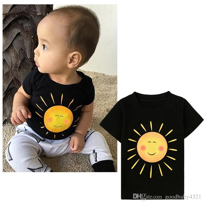 kids summer short sleeves tops cute sun pattern black t-shirts for baby boys girls boutique cotton tees children fashion clothes retail 2018
