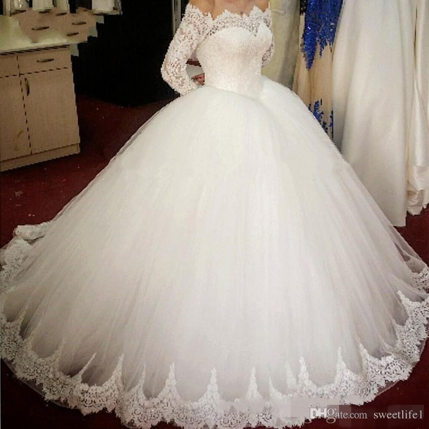 Gorgeous 2019 Ball Gown Wedding Dresses Off The Shoulder Long Sleeve Lace Puffy Saudi Arabic Style Bridal Gown Custom Made