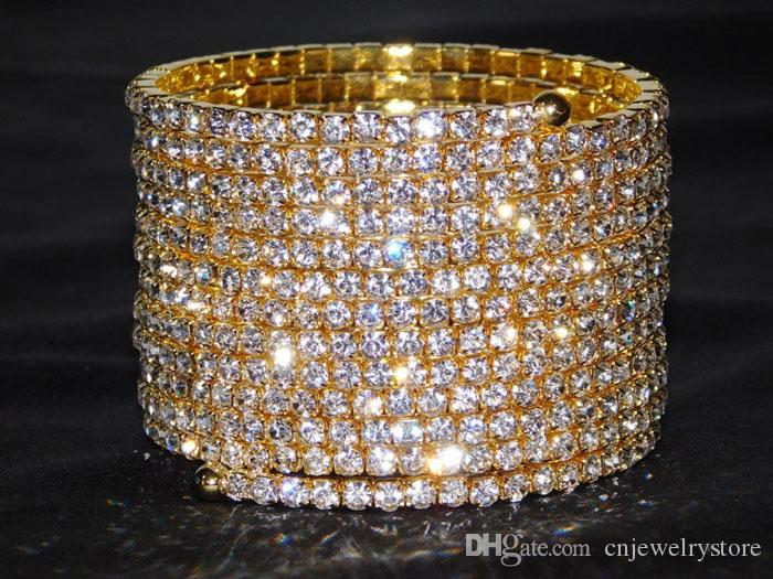 2017 Pulseiras 12 Fileiras Partido Espiral de Prata Banhado A Ouro Rhinestone Bangle Braço Superior Pulseira Cuff Nupcial Do Casamento Acessórios de Jóias para As Mulheres