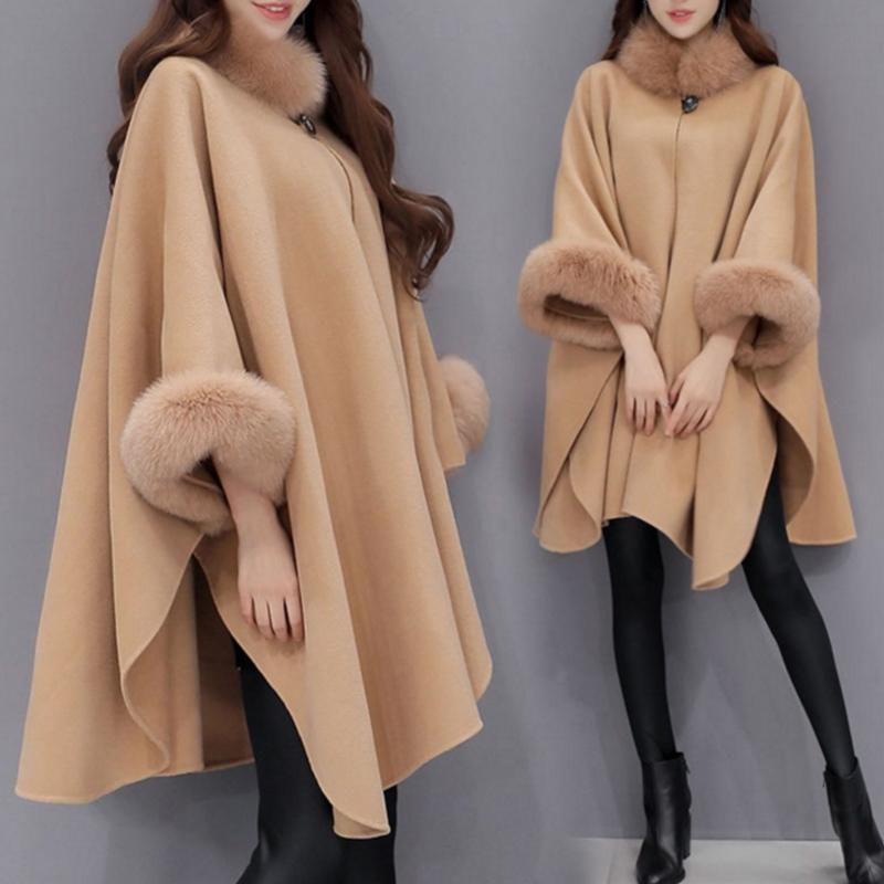 Women Ladies Flare Sleeve Faux Fox Fur Collar Winter Wool Cloak Cape Coat Poncho Long Overcoat Ponchos and Capes Outwear