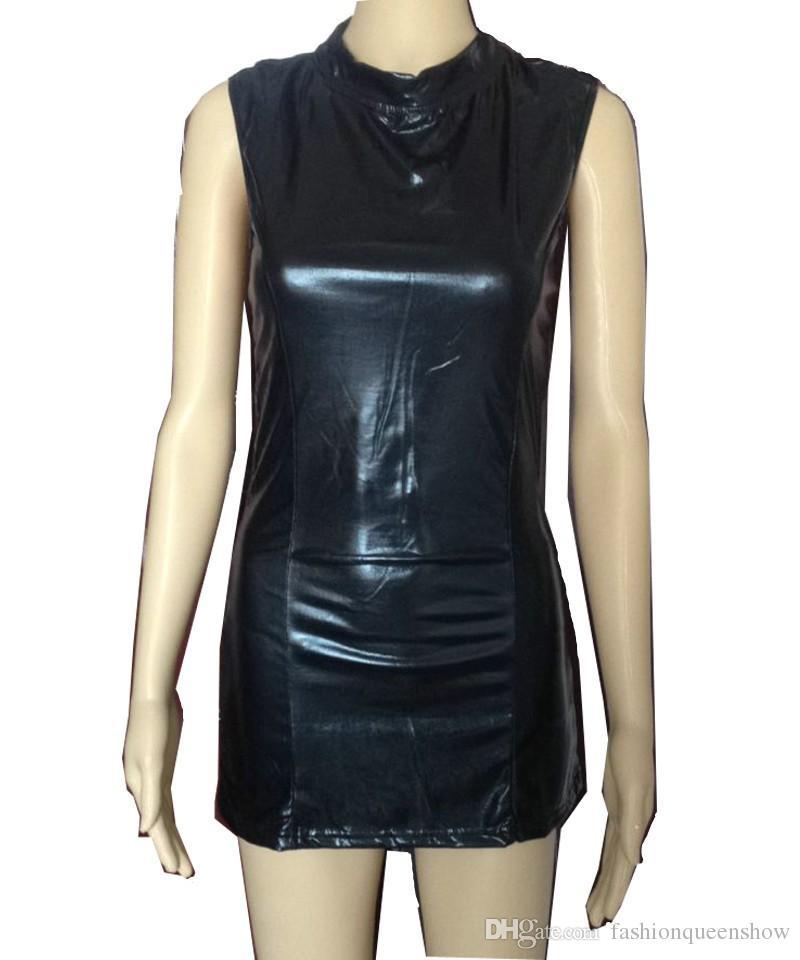 Open Back Turtleneck Black Dress Gothic Sexy Classic Black Mini Dress Faux Leather Catsuit Novelty Bodycon Night Clubwear