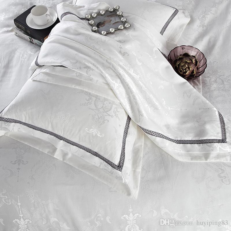 White Bedclothes Cama Set Jacquard Silk Home Têxteis Têxteis Conjunto de Cama de Luxo 4/Cetim Doona Duveta Capa cama de cama Roupa Rainha Rainha