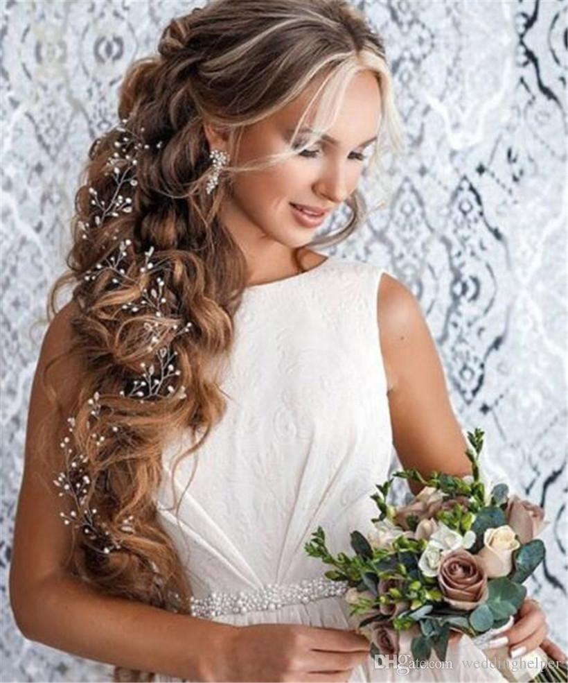 2018 Vintage Wedding Bridal Pearl Long Hair Chain Headband Band ...