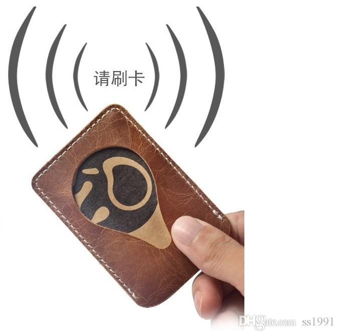 Name Credit Card Holders Women Men Bank Card Neck Strap Card Bus ID holders 100% real leather Identity clutch badge