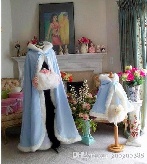 White Velvet Hooded Cloak Bridal Cloaks Capes 2017 Christmas Winter Halloween Sweep Train Jacket Wedding Bridesmaid Wraps