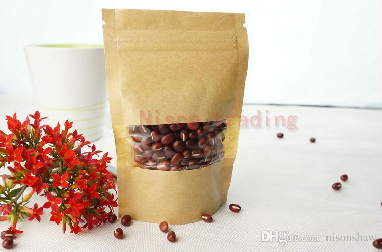 14*20cm standing brown kraft paper ziplock bag with window-stand up coffee bean craft paper sack dustproof, coconut packing pouch
