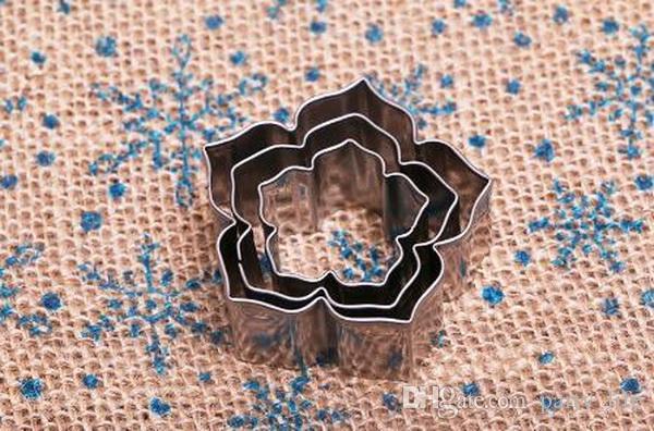 3 PÇS / SET Petunia Flor Pétalas de Aço Inoxidável Criativo Biscoito Molde Cortado Molde Fondant Molde Do Bolo De Corte, 10 jogos / lote
