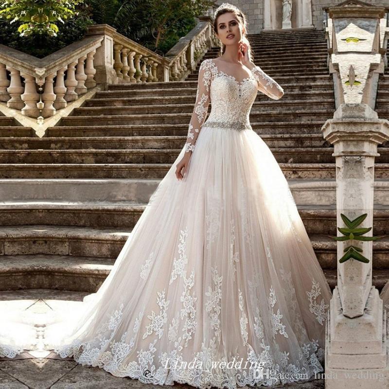 Princess Ball Gowns Long Full Sleeves Holy Wedding Dress Gorgeous Applique  Lace Beaded Women Bridal Party Dress Plus Size Vestido De Noiva Camo Wedding  ... 4d685d567