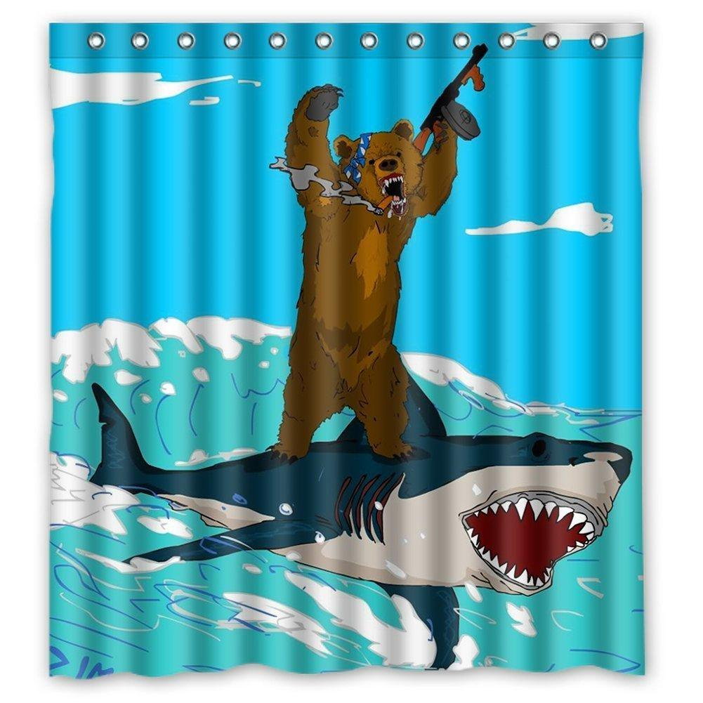 2018 Unique Bear Riding Shark Funny Desugn Waterproof Polyester ...