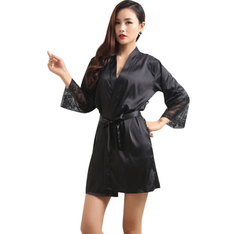 2019 Wholesale Mid Sleeve Sexy Women Nightwear Robes Plus Size M L XL XXL  Lace Real Silk Female Bathrobes 92 From Rebecco b361fff9a