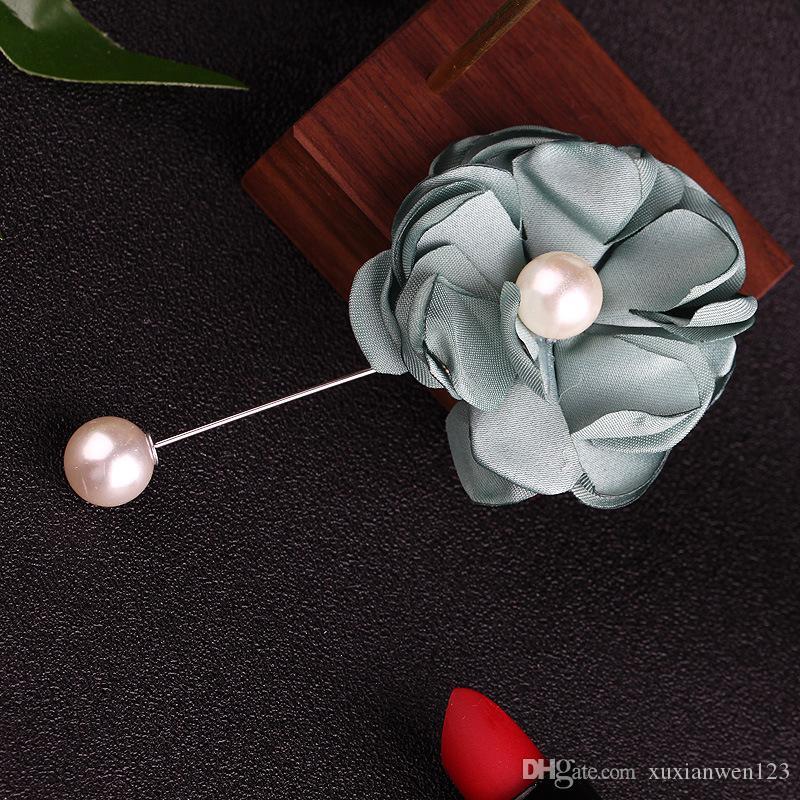 Flores de tela grande Broches para hombres broches de perlas de cristal hechos a mano broches de perlas con hombres joyería de la boda