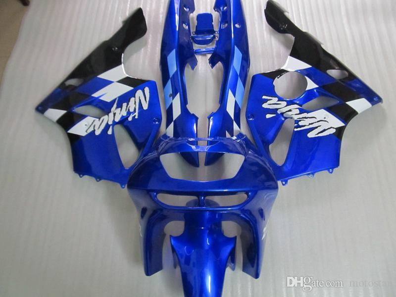 Partes del cuerpo del mercado de accesorios Kit de carenado para Kawasaki Ninja ZX6R 1994-1997 carenados de la carrocería azul conjunto zx6r 94 95 96 97 OT19
