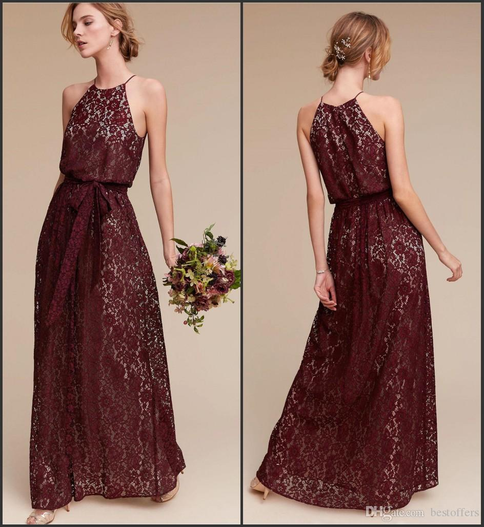 Burgundy full lace boho long bridesmaid dresses 2017 new halter burgundy full lace boho long bridesmaid dresses 2017 new halter neck with belt maid of honor gowns blush pink wedding guest dresses ba4722 purple bridesmaid ombrellifo Images
