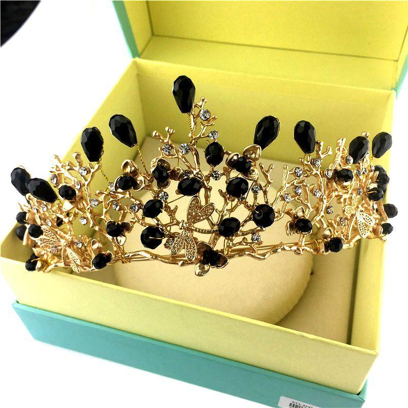 Baroque Vintage Bridal Gold Jewelry Wedding Crystal Rhinestone Handmade Headpiece Crown Tiara Headband Hairband Hair Accessories Black Prom