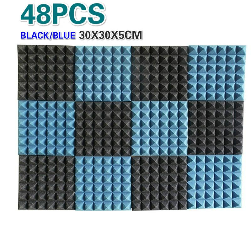 50 Pieces- Recording Studio Acoustic Treatments Foam Sound Insulation  Pyramid Decorative Acoustic Wall Panels 2 X 12 X 12