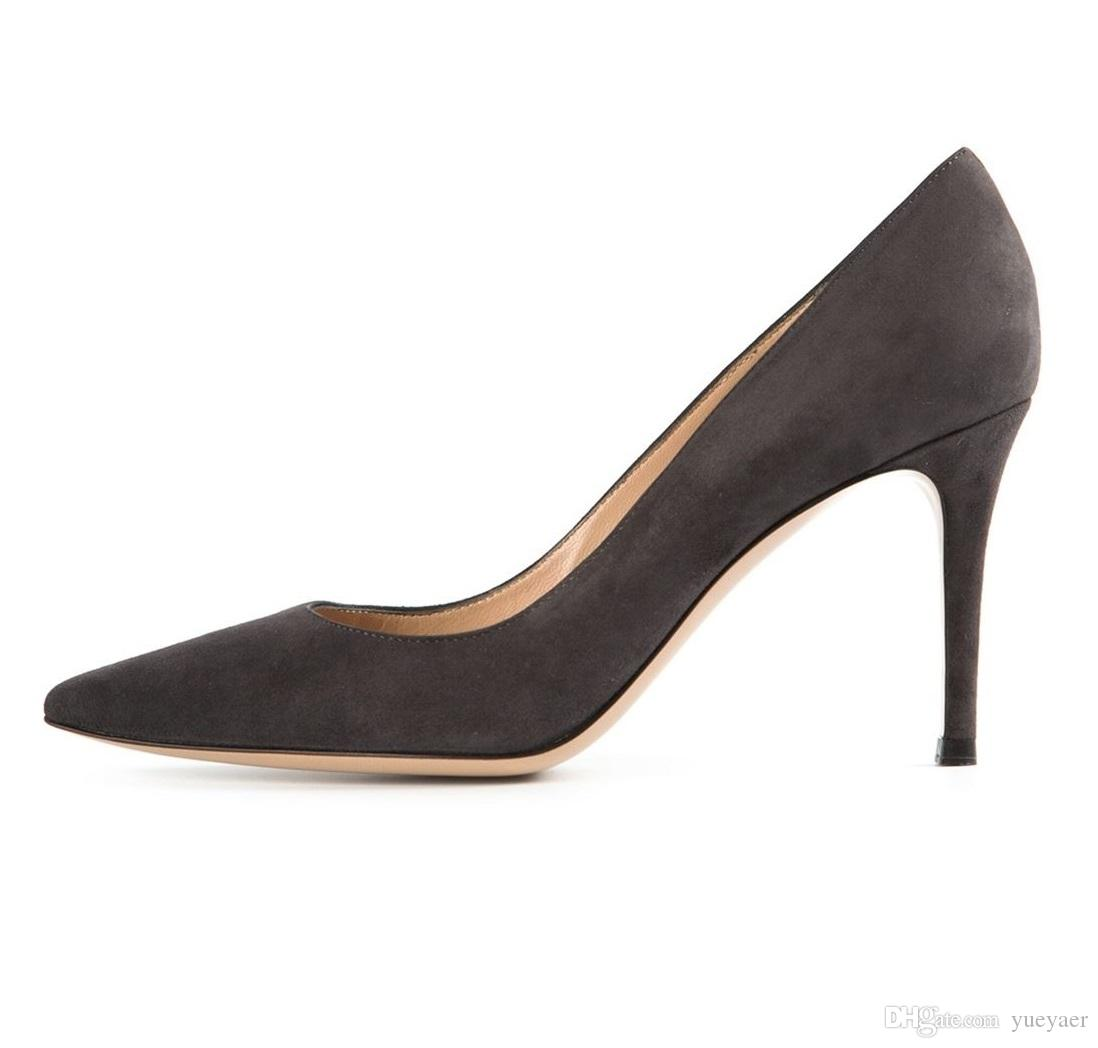 Zandina Handmade Fashion 8cm High Heel Pumps Simple Style Slip-on Pointy Party Evening Wedding Stiletto Shoes Dark-gray