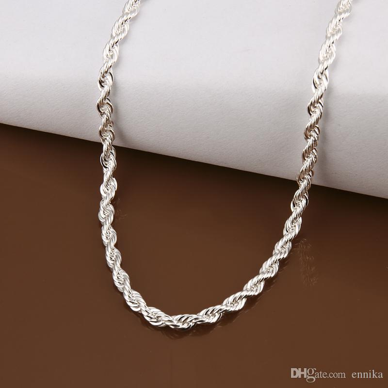 925 Sterling Silver Rope Chains 16inch-24inch Thick 4mm Fashion Rope Necklace/Chain Good Quality N066-1