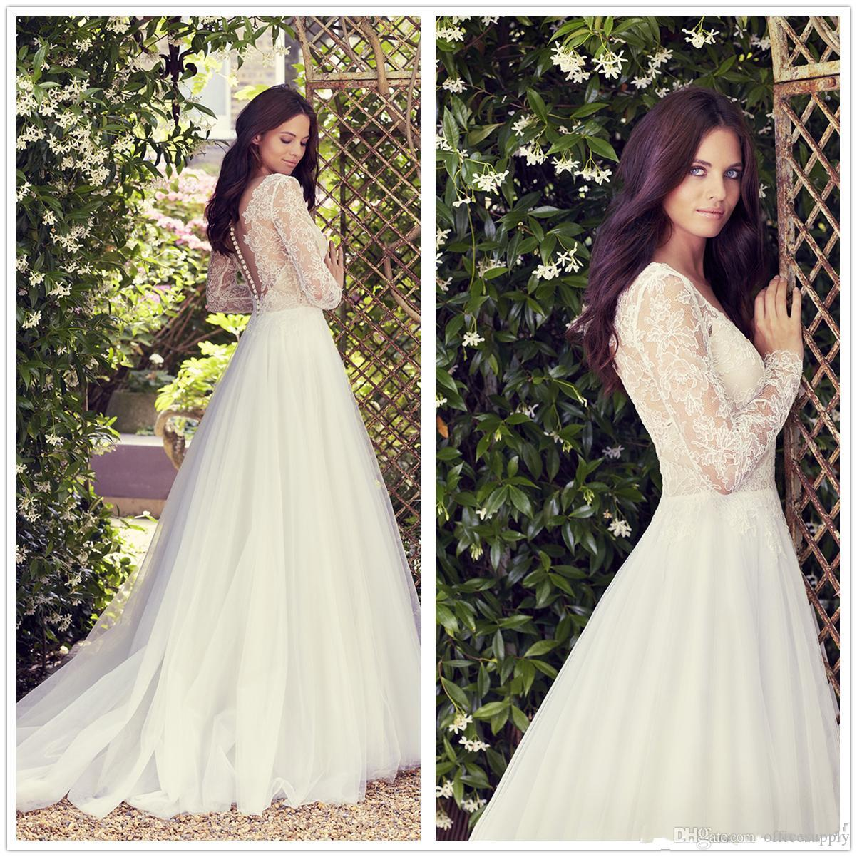 Western Style Wedding Gowns: Discount Western Country Style Lace Wedding Dresses Sheer