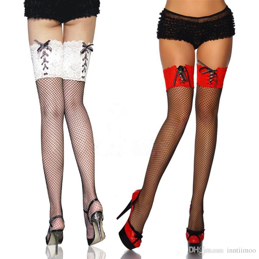 9910f141c50 2019 Fashion Women Nylon Tights Sexy Fishnet Thigh High Stockings With Lace  Top Sexy Tights Stockings Sexy From Inntiimoo
