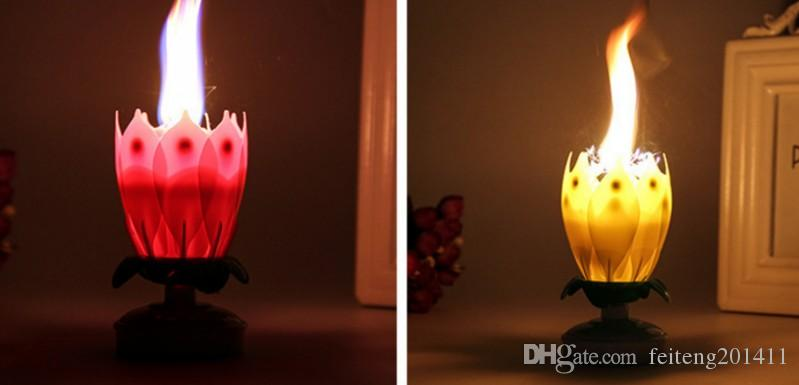 Romantic Happy Birthday Music Play Lotus Candle Magic Musical Flower Special For Scented Candles Best From Feiteng201411