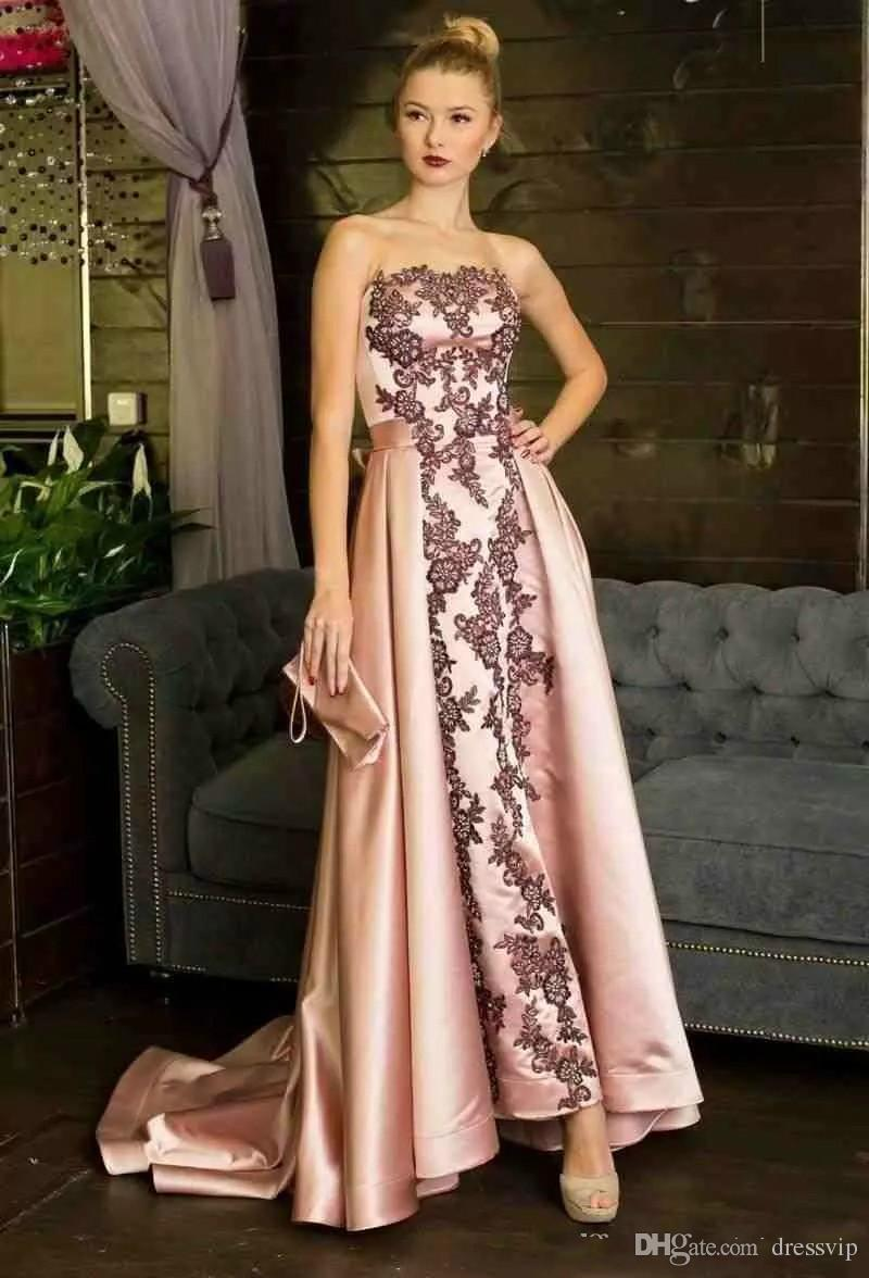South Africa Prom Dresses With Black Lace Applique Evening Gown A Line Satin Bow Lace Up Formal Dress Pageant Gown vestidos de fiesta