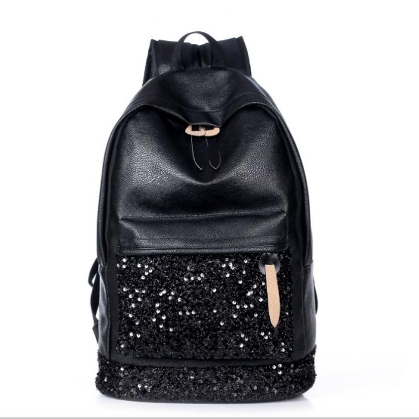c7bcdddf4a Wholesale Fashion Women Backpack Pu Girls Back Pack Women Leather Backpacks  School Bags Ladies Black Embroidered Sequins Shoulder Bags Boys Backpacks  ...