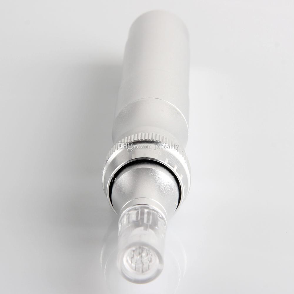 1 adet / grup Gümüş Yeni Elektrikli Otomatik Derma Kalem Terapi Damga Anti-aging Yüz Mikro İğneler elektrik kalem perakende ambalaj Ile DHL ücretsiz kargo