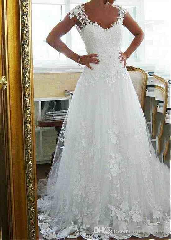 Economici Sheer Backless Lace Appliqued Abiti da sposa 2019 Custom Made A Line Abiti da sposa Piano Lunghezza