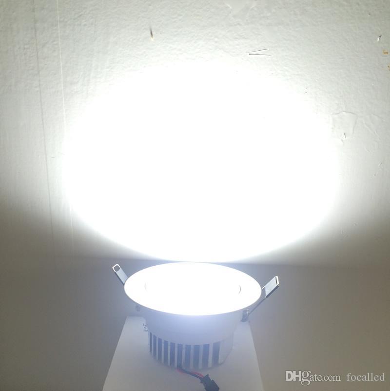 Cáscara blanca led downlight regulable luces empotradas en el techo mazorca proyector 9w 800lm AC85-265v Blanco cálido + Controladores 120angle CE UL