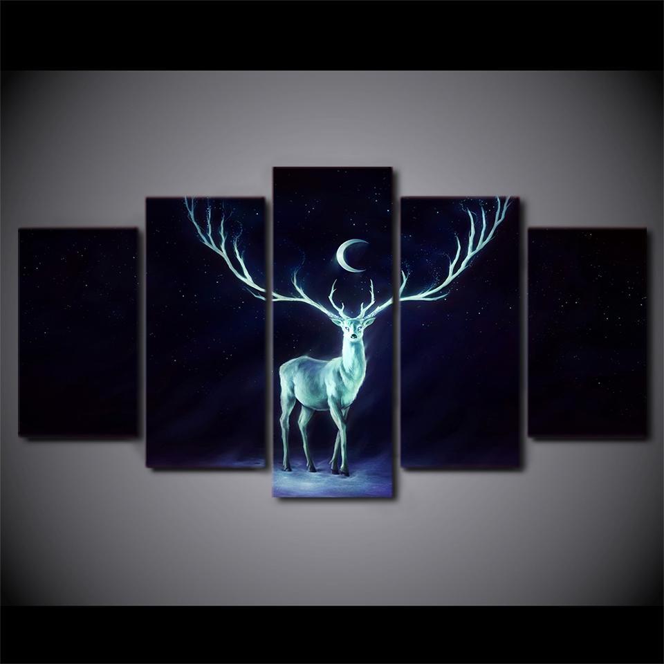Großhandel 5 Panel Hd Gedruckt Gerahmte Mond Nacht Deer Moderne ...