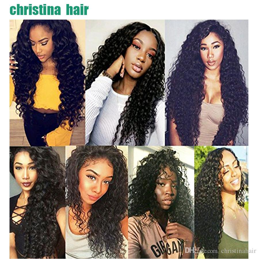 100% Unprocessed Virgin Brazilian Peruvian Indian Malaysian Mongolian Hair Weaves Deep Wave Hair Extensions Hair Bundles With Closure