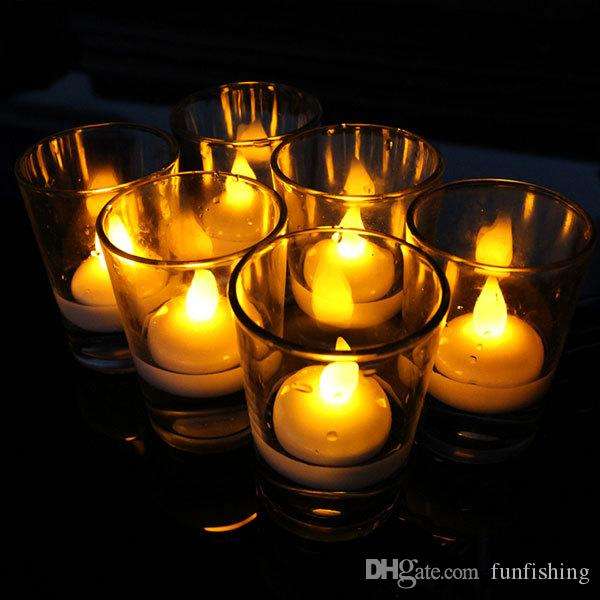 Yellow flameless water proof floating tea lights eletric for Candele piscina