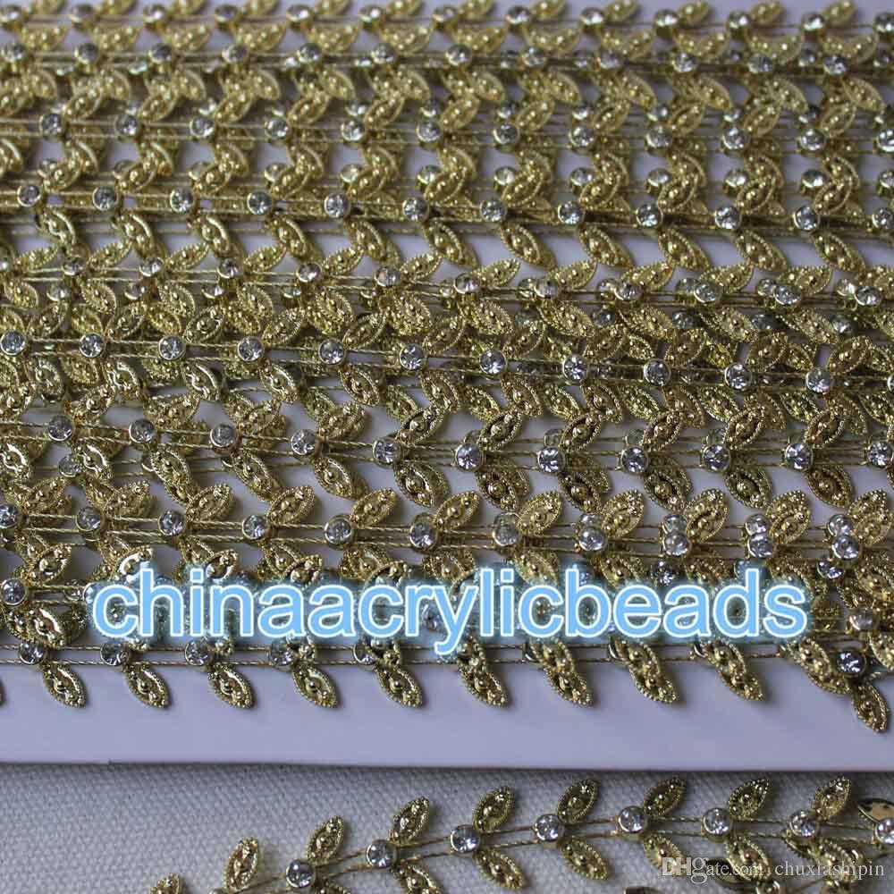 New Fashion 5Yard/Roll Silver/Gold Clear Rhinestone Chain Trims Crystal Rhinestone Applique