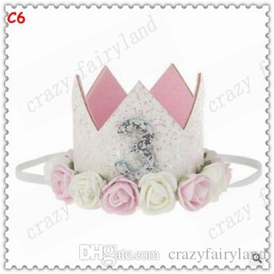 Princess Birthday Hat Headband Sequins Pink Flowers Crown Party Decorations Headband for Baby and Girls Head Wear Photo Props 632