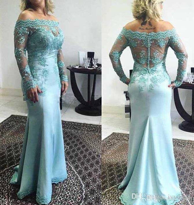 566b95f89cf Honey Qiao 2017 Mother of Bride Dresses Ice Blue Off Shoulder Long Sleeve  Mother Dress Sweep Train Lace Applique Sheer Back Party Gowns Mother of the  Bride ...