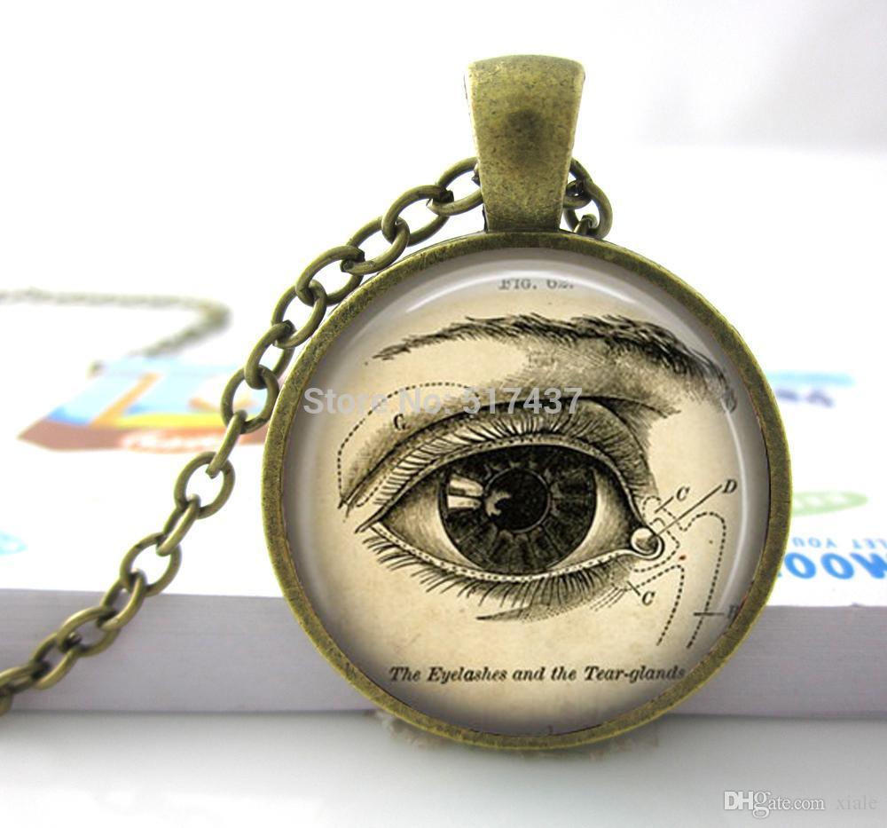 Anatomical Eye Necklace Eye Post Necklace Correct Eye Necklace Vintage Medical Illustration Science Jewelry Biology Jewelry
