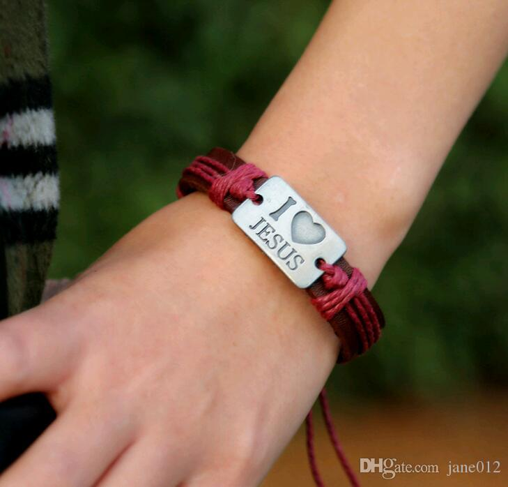 Wholesale Handmade Leather I love JESUS Alloy Rope Bands Charm Bracelet Four Colors Mixed Bulk Jewelry