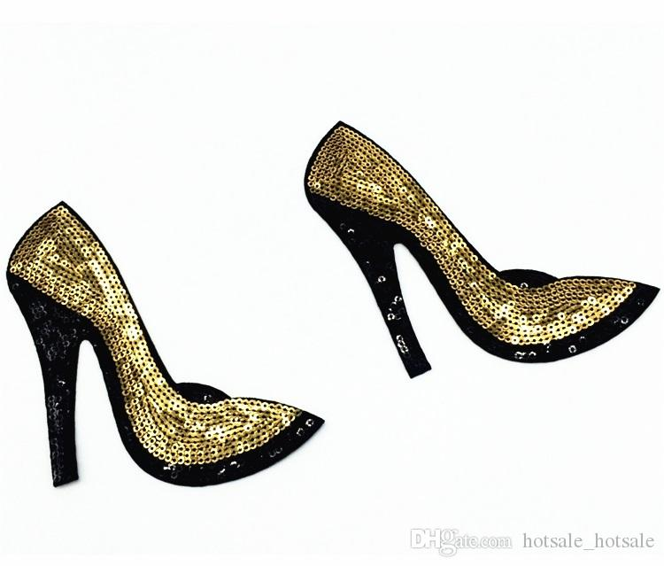 Shining Sequins High-heeled shoes Patch 10*13.5cm Embroidered Motif Applique Iron On Sticker Patches For Clothing Jacket Jean Bags Decor